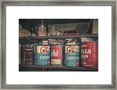 Coffee Tins All In A Row Framed Print by Scott Norris