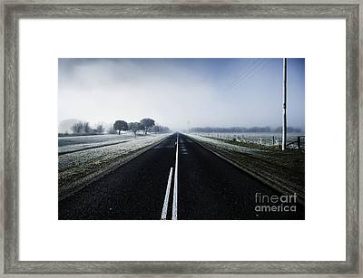 Cold Blue Winter Road Framed Print by Jorgo Photography - Wall Art Gallery
