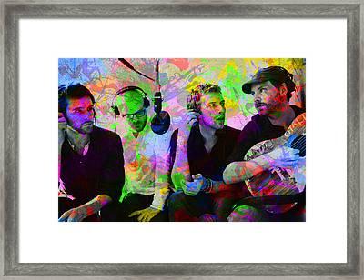 Coldplay Band Portrait Paint Splatters Pop Art Framed Print by Design Turnpike