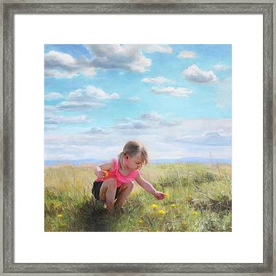 Collecting Dandelions Framed Print by Anna Rose Bain