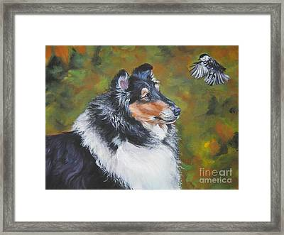 Collie Chickadee Framed Print by Lee Ann Shepard