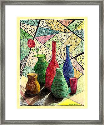 Color Drawing Of Vases With Flower Framed Print by Mario Perez