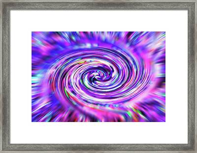 Color Whirlpool - Derived From Ribbon Grass Plant Image Framed Print by Steve Ohlsen
