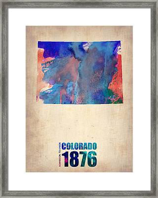 Colorado Watercolor Map Framed Print by Naxart Studio