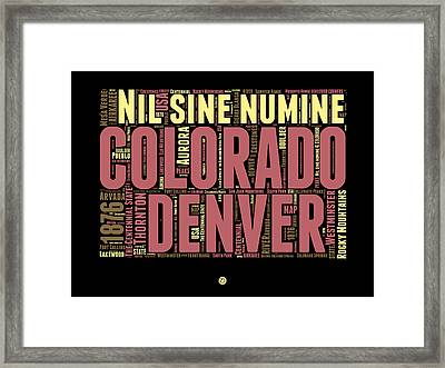 Colorado Word Cloud Map 1 Framed Print by Naxart Studio