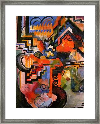 Colored Composition Framed Print by August Macke