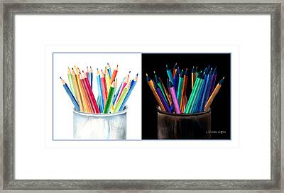 Colored Pencils - The Positive And The Negative Framed Print by Arline Wagner