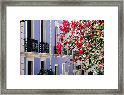 Colorful Balconies Of Old San Juan Puerto Rico Framed Print by George Oze