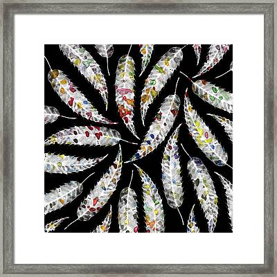 Colorful Black And White Leaves Framed Print by Susanne Kasielke