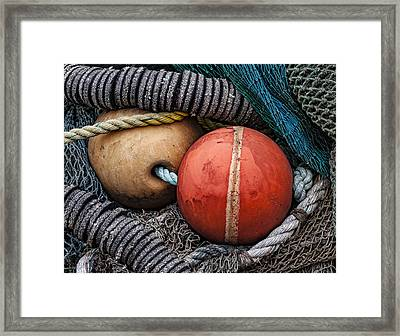 Colorful Buoys And Nets Framed Print by Carol Leigh