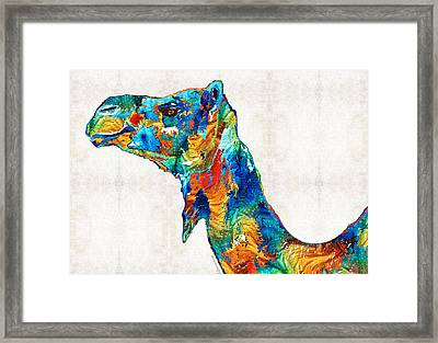 Colorful Camel Art By Sharon Cummings Framed Print by Sharon Cummings