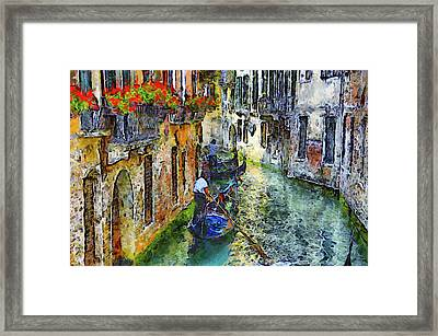 Colorful Canal In Venice Framed Print by Georgiana Romanovna