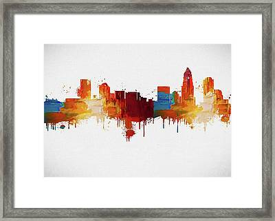 Colorful Charlotte Skyline Silhouette Framed Print by Dan Sproul