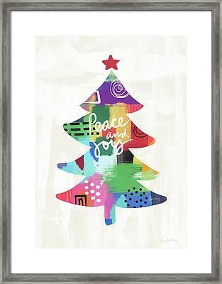 Colorful Christmas Tree- Art By Linda Woods Framed Print by Linda Woods