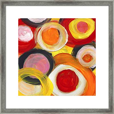 Colorful Circles In Motion Square 2 Framed Print by Amy Vangsgard
