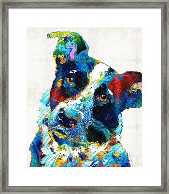 Colorful Dog Art - Irresistible - By Sharon Cummings Framed Print by Sharon Cummings