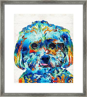 Colorful Dog Art - Lhasa Love - By Sharon Cummings Framed Print by Sharon Cummings