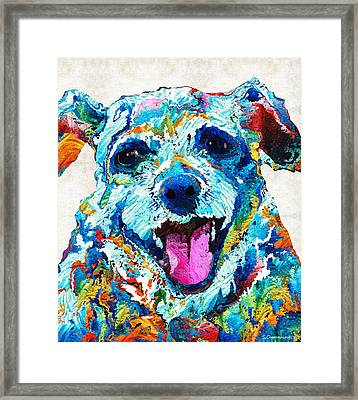 Colorful Dog Art - Smile - By Sharon Cummings Framed Print by Sharon Cummings
