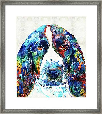 Colorful English Springer Spaniel Dog By Sharon Cummings Framed Print by Sharon Cummings