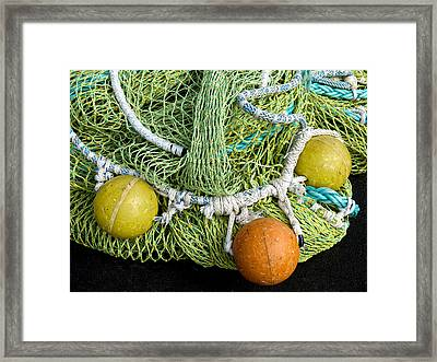 Colorful Fishing Nets And Buoys Framed Print by Carol Leigh