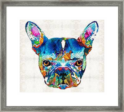 Colorful French Bulldog Dog Art By Sharon Cummings Framed Print by Sharon Cummings