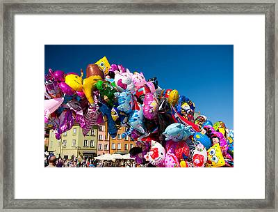 Colorful Funny Balloons At Old Town Framed Print by Arletta Cwalina