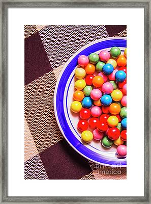 Colorful Gumballs On Plate Framed Print by Jorgo Photography - Wall Art Gallery