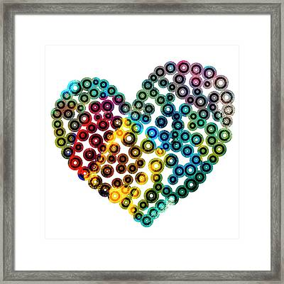 Colorful Heart Framed Print by Frank Tschakert