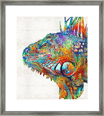 Colorful Iguana Art - One Cool Dude - Sharon Cummings Framed Print by Sharon Cummings