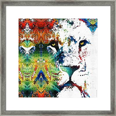 Colorful Lion Art 2 By Sharon Cummings Framed Print by Sharon Cummings