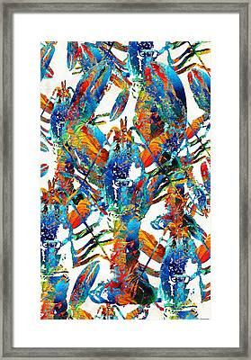 Colorful Lobster Collage Art - Sharon Cummings Framed Print by Sharon Cummings