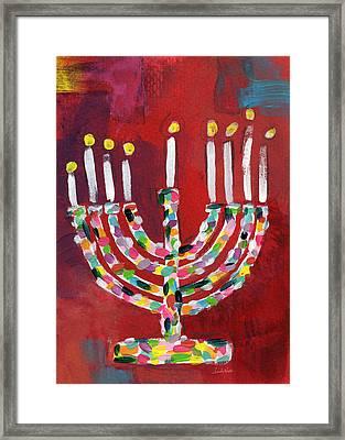Colorful Menorah- Art By Linda Woods Framed Print by Linda Woods