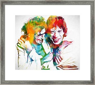 Colorful Mick And Keith Framed Print by Dan Sproul