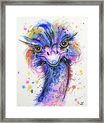 Colorful Ostrich Framed Print by Zaira Dzhaubaeva