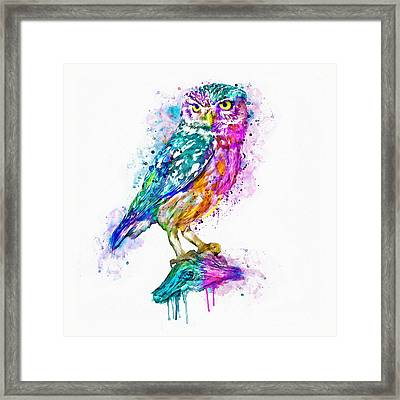 Colorful Owl Framed Print by Marian Voicu