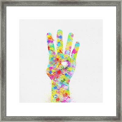 Colorful Painting Of Hand Pointing Four Finger Framed Print by Setsiri Silapasuwanchai