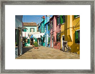 Colorful Piazza Framed Print by Prints of Italy