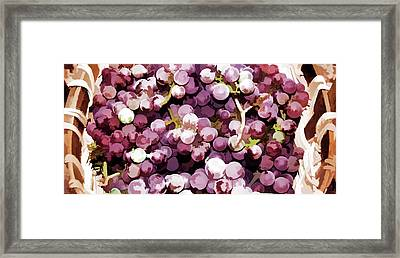 Colorful Pink Tasty Grapes In The Basket Framed Print by Lanjee Chee