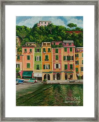 Colorful Portofino Framed Print by Charlotte Blanchard