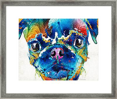 Colorful Pug Art - Smug Pug - By Sharon Cummings Framed Print by Sharon Cummings