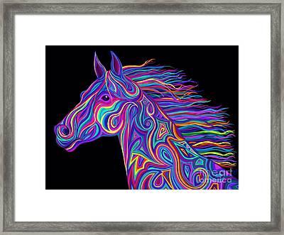 Colorful Rainbow Stallion  Framed Print by Nick Gustafson