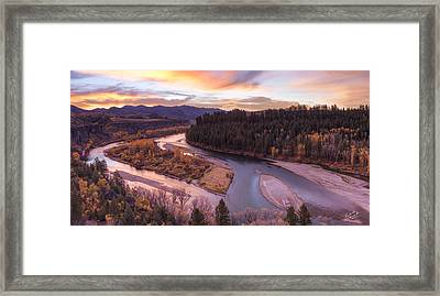 Colorful River Sunrise Framed Print by Leland D Howard