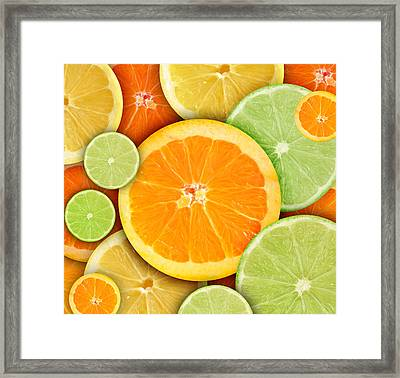 Colorful Round Citrius Fruit Background Framed Print by Angela Waye