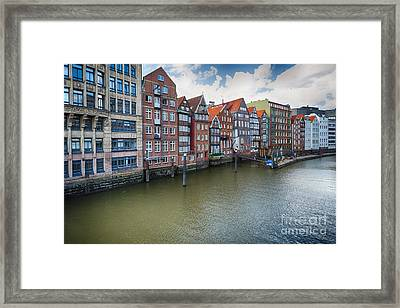 Colorful Row Houses In Old Town Hamburg Along A Canal Framed Print by George Oze
