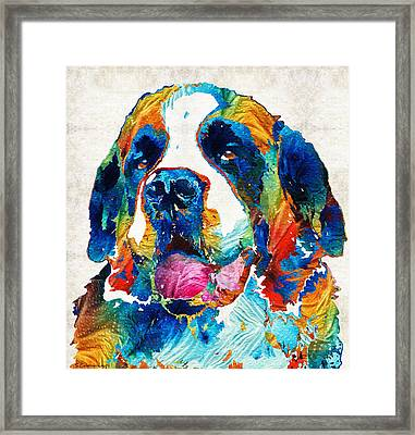 Colorful Saint Bernard Dog By Sharon Cummings Framed Print by Sharon Cummings