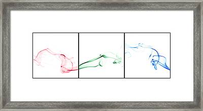 Colorful Smoke II - Rgb Triptych Framed Print by Scott Norris