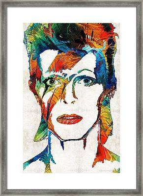 Colorful Star - David Bowie Tribute  Framed Print by Sharon Cummings