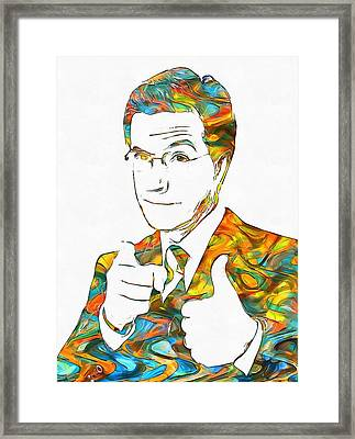 Colorful Stephen Colbert Framed Print by Dan Sproul