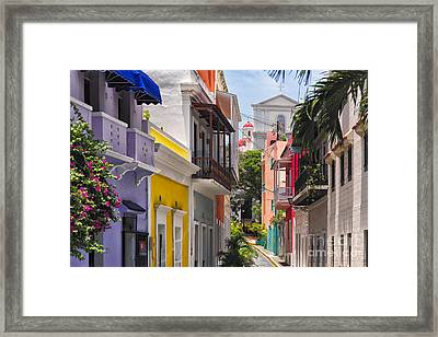 Colorful Street Of Old San Juan Framed Print by George Oze