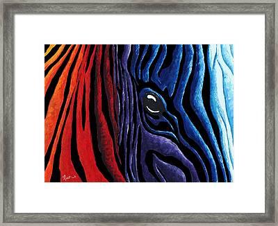 Colorful Stripes Original Zebra Painting By Madart In Black Framed Print by Megan Duncanson